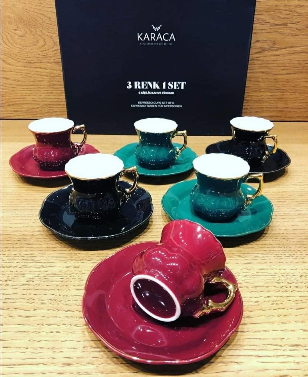 3 renk 1 set Karaca 6 Kişilik Kahve Fincanı