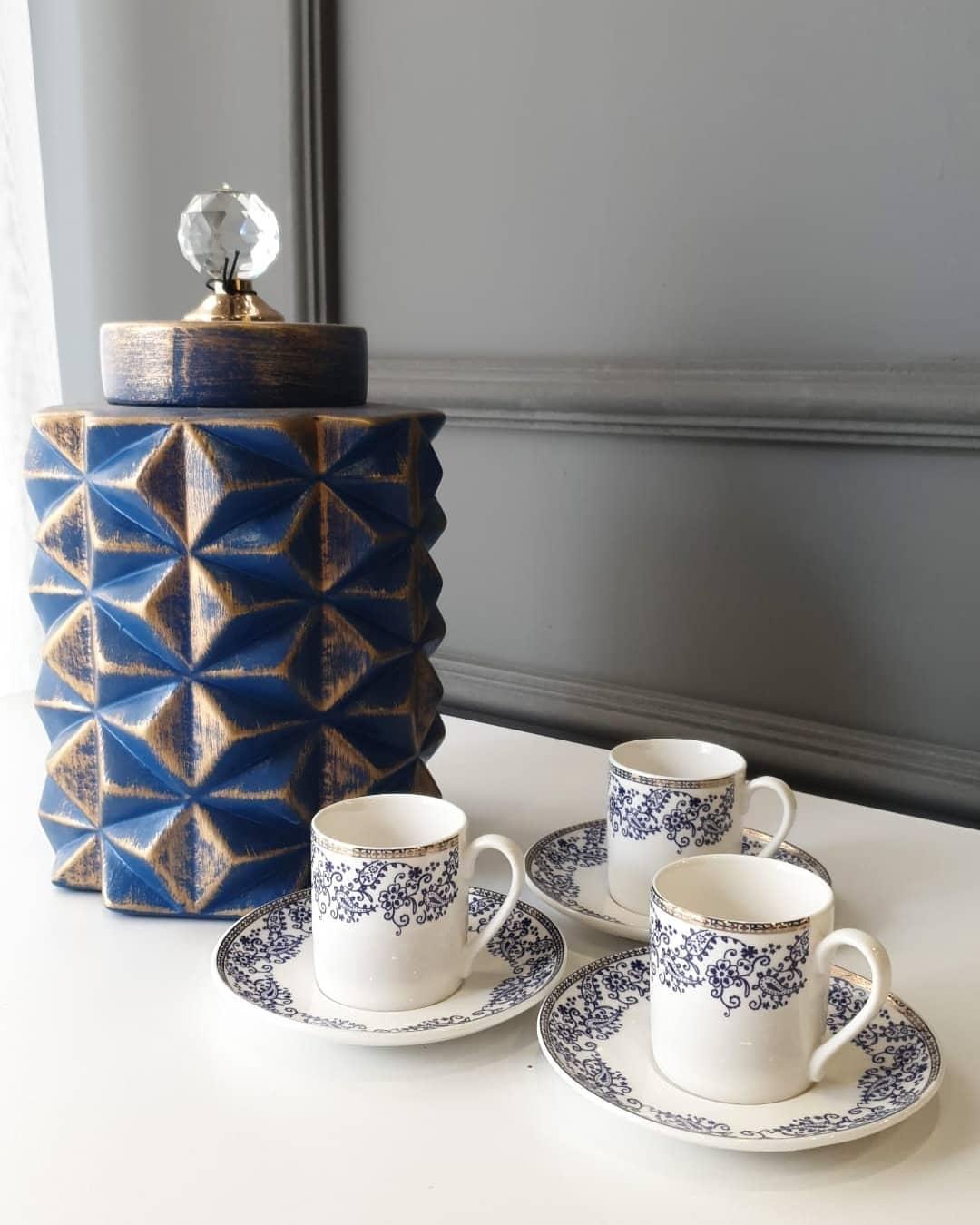 Karaca 6 Kişilik Kahve Fincanı mavi desen