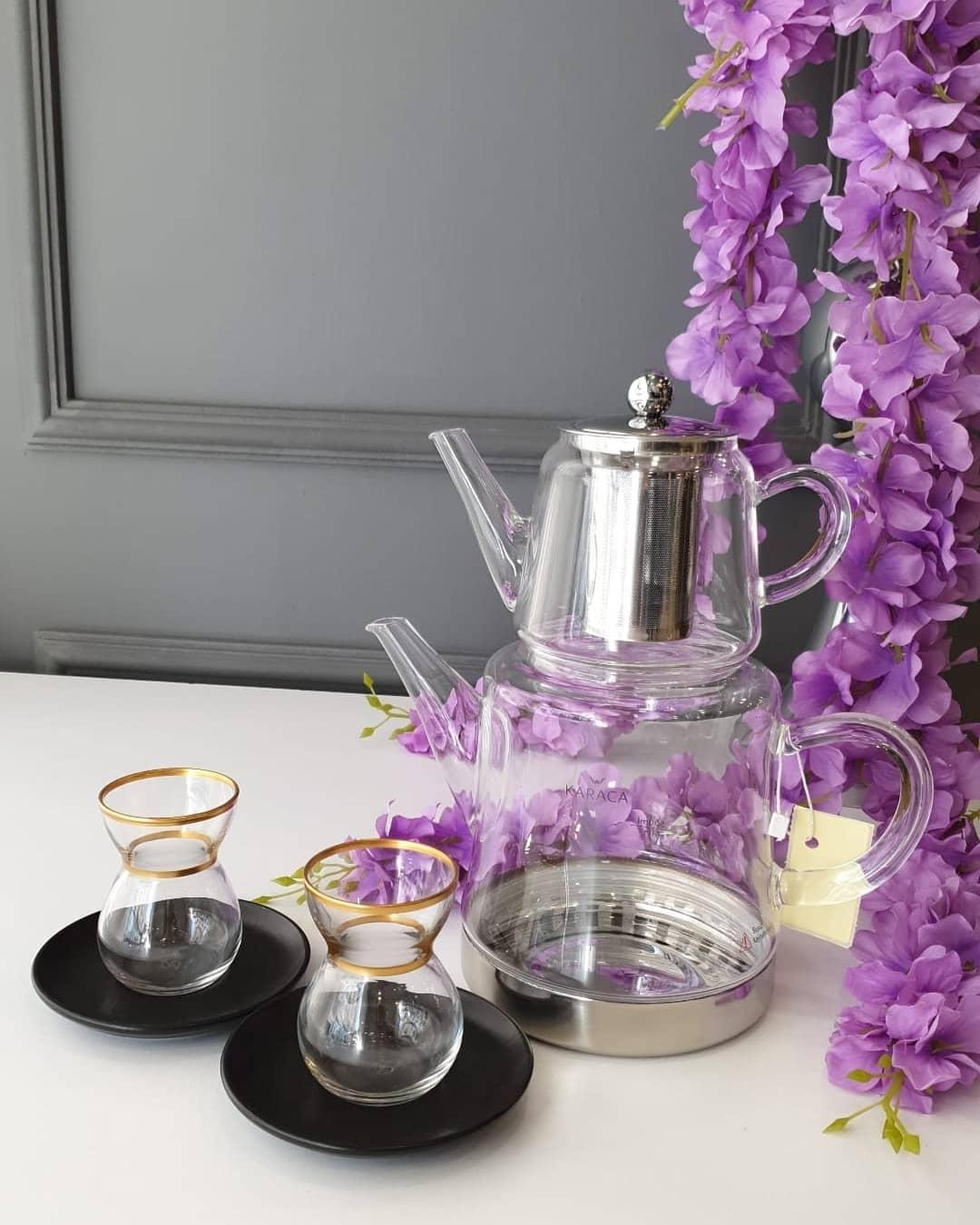 Karaca Cam Çaydanlık Takımı ve 6 kişilik çay seti
